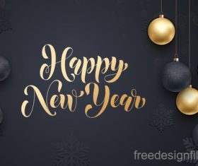 Golden with black christmas balls and xmas black background vector 09