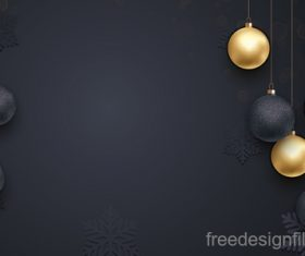 Golden with black christmas balls and xmas black background vector 11