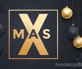 Golden with black christmas balls and xmas black background vector 13