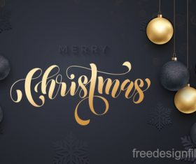 Golden with black christmas balls and xmas black background vector 14