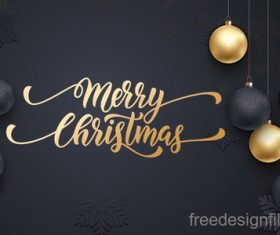 Golden with black christmas balls and xmas black background vector 15