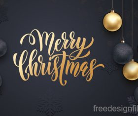 Golden with black christmas balls and xmas black background vector 16