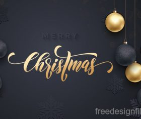 Golden with black christmas balls and xmas black background vector 17