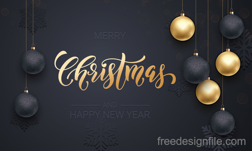 Golden with black christmas balls and xmas black background vector 18