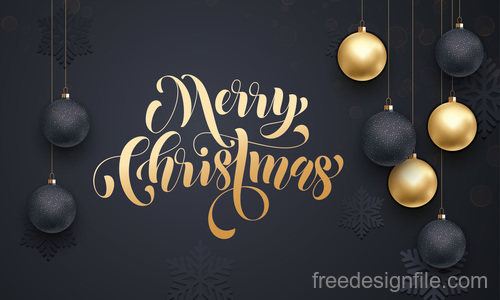 Golden with black christmas balls and xmas black background vector 19