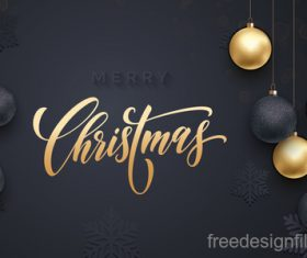 Golden with black christmas balls and xmas black background vector 20