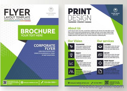Green flyer template design vectors 01