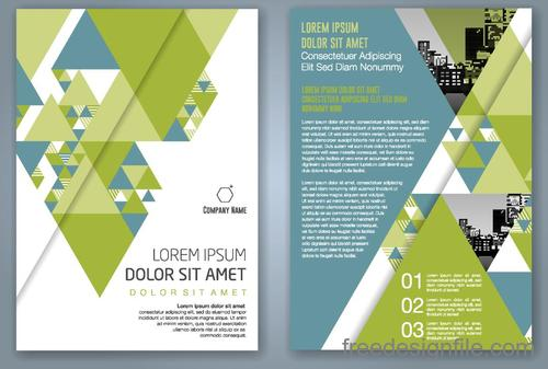 Green flyer template design vectors 02
