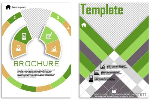 Green flyer template design vectors 03
