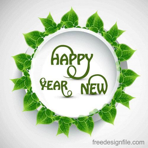 Green leaves with new year frame vector