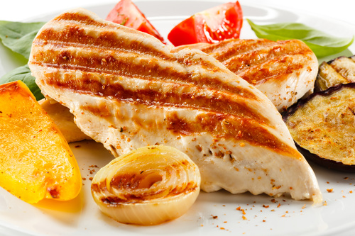 Grilled chicken fillet and vegetables Stock Photo 01