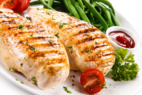Grilled chicken fillet and vegetables Stock Photo 02