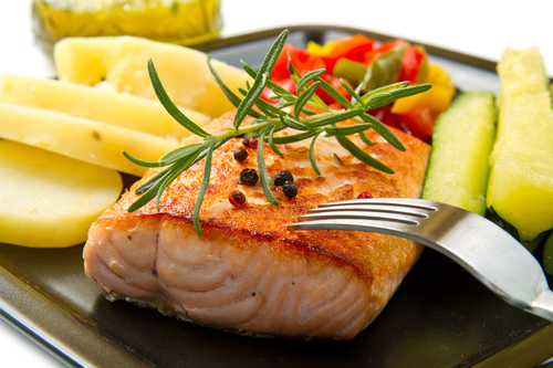 Grilled chicken fillet and vegetables Stock Photo 03