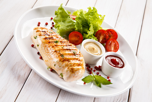 Grilled chicken fillet and vegetables Stock Photo 04