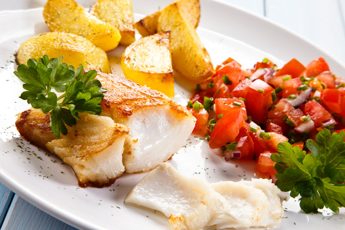 Grilled chicken fillet and vegetables Stock Photo 05