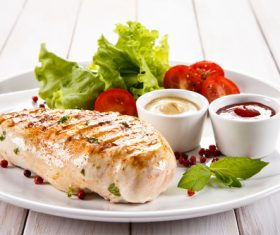 Grilled chicken fillet and vegetables Stock Photo 06