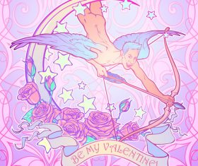 Hand drawn angel with rose valentine template vector