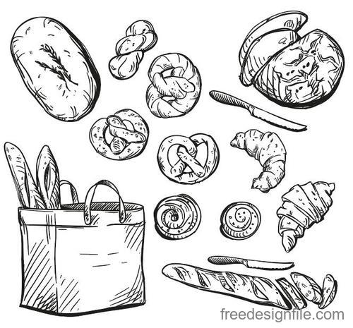 Hand drawn bread retro illustration vector 01