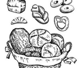 Hand drawn bread retro illustration vector 02