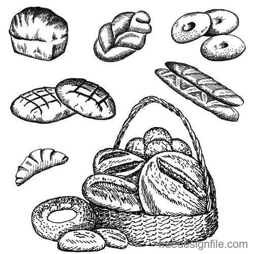Hand drawn bread retro illustration vector 03