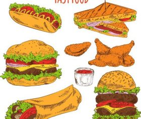 Hand fastfood illustration vectors set