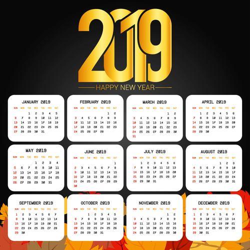 Happy 2019 calendar with autumn background vector