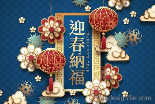 Happy 2019 chinese new year of the pig vector design 02