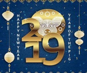 Happy 2019 chinese new year of the pig vector design 03