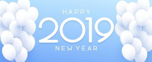 Happy 2019 new year background with white balloons vector