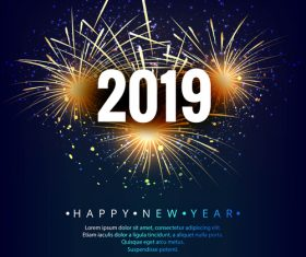 Happy 2019 new year fireworks and blue background vector