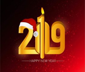 Happy 2019 new year red background with red hat vector
