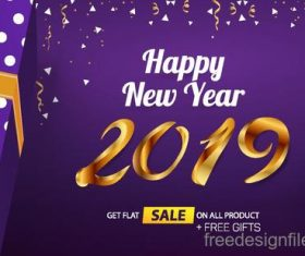 Happy 2019 new year sale design with gift boxs vecotr