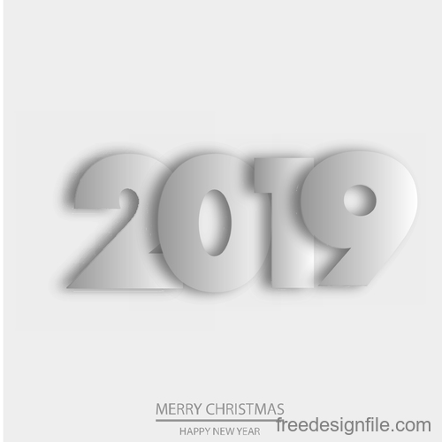 Happy 2019 new year white background vector