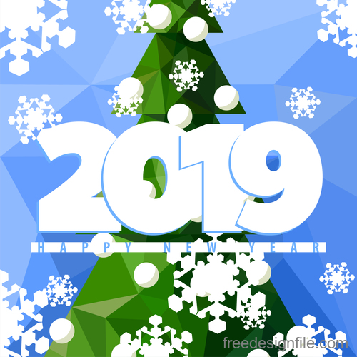 Happy 2019 new year winter background vector