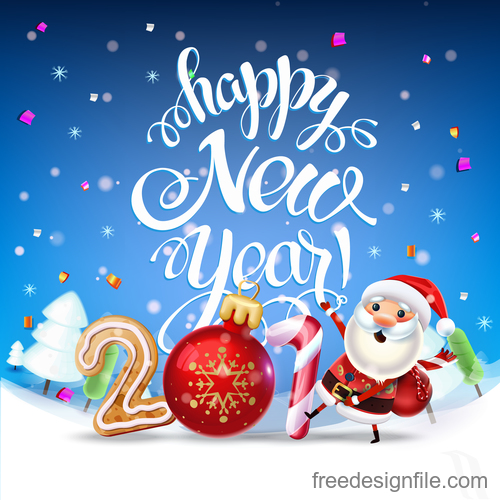 Happy 2019 new year with christmas design vector