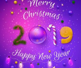 Happy 2019 new year with christmas purple background vector