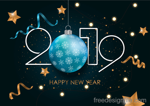Happy 2019 new year with ribbon with stars vector