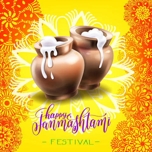 Happy Janmashtami Festival design vector 01