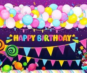 Happy birthday cartoon card design vector