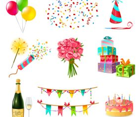 Happy birthday design elements illustration vector set 01