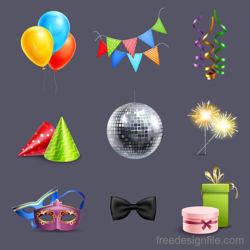 Happy birthday design elements illustration vector set 02