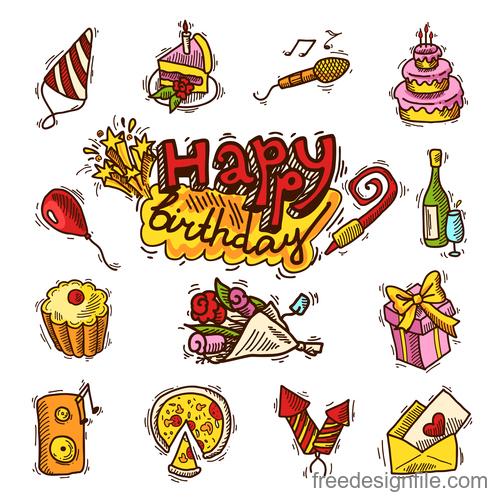 Happy birthday design elements illustration vector set 03