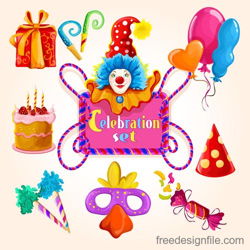 Happy birthday design elements illustration vector set 04