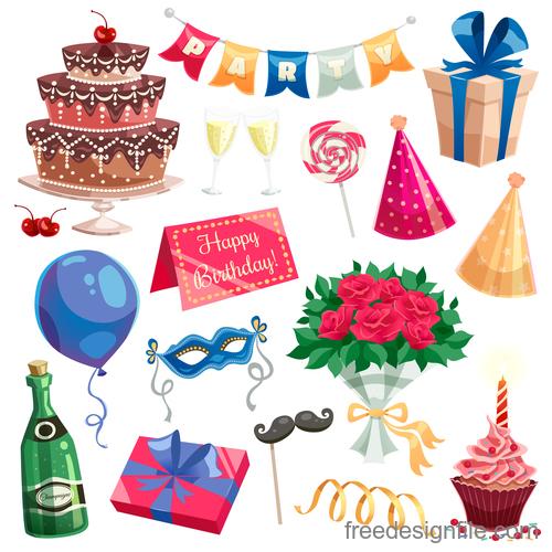Happy birthday design elements illustration vector set 05
