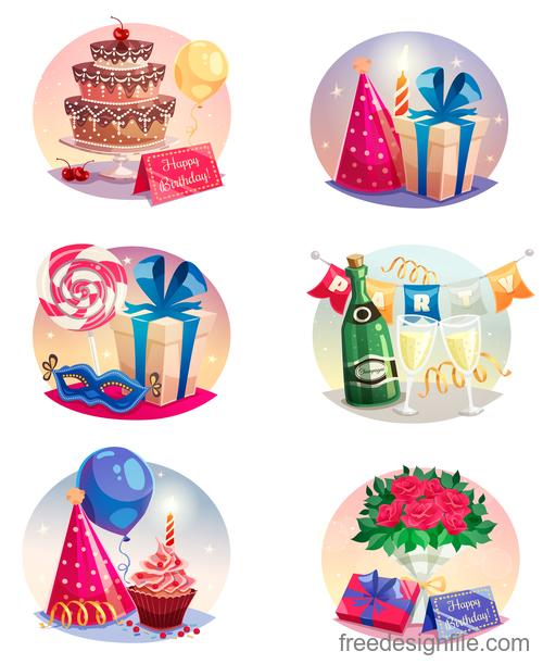 Happy birthday design elements illustration vector set 06