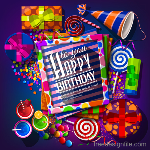 Happy birthday holiday card template vectors 01