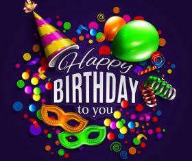 Happy birthday holiday card template vectors 03