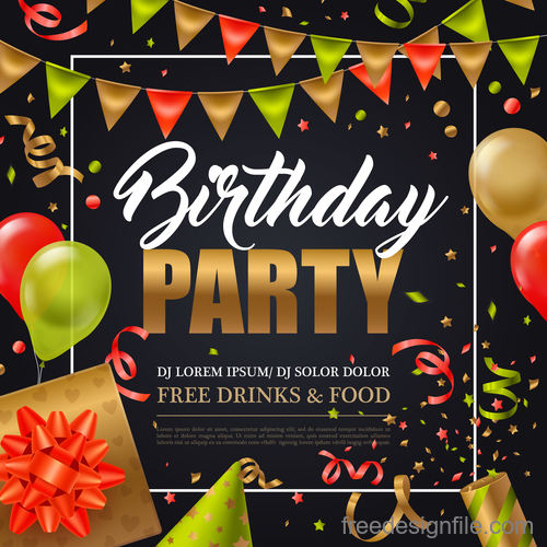 Happy birthday party flyer with poster vector