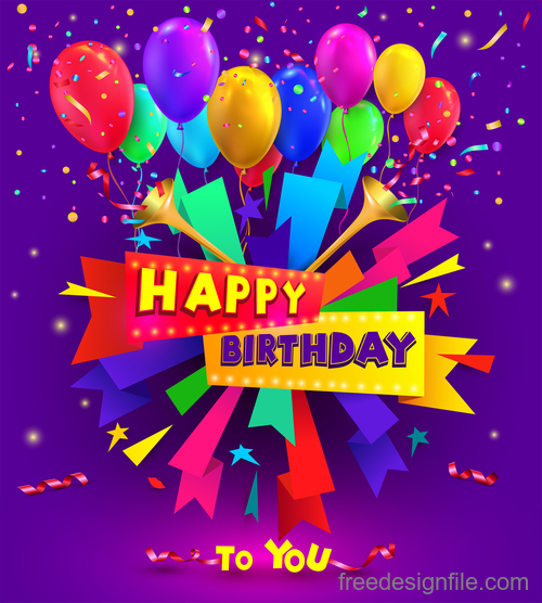 Happy birthday typography poster and cards with balloon vector