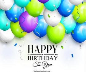 Happy birthday white background with colored balloons vector